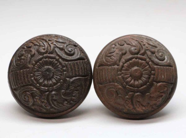 Door Knobs - Pair of Cast Iron Penn Two Fold Door Knobs