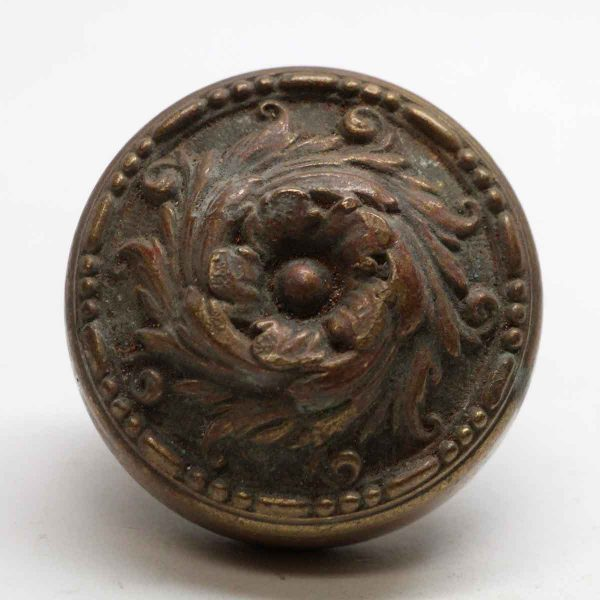 Door Knobs - Single Romanesque Bronze Floral Door Knob