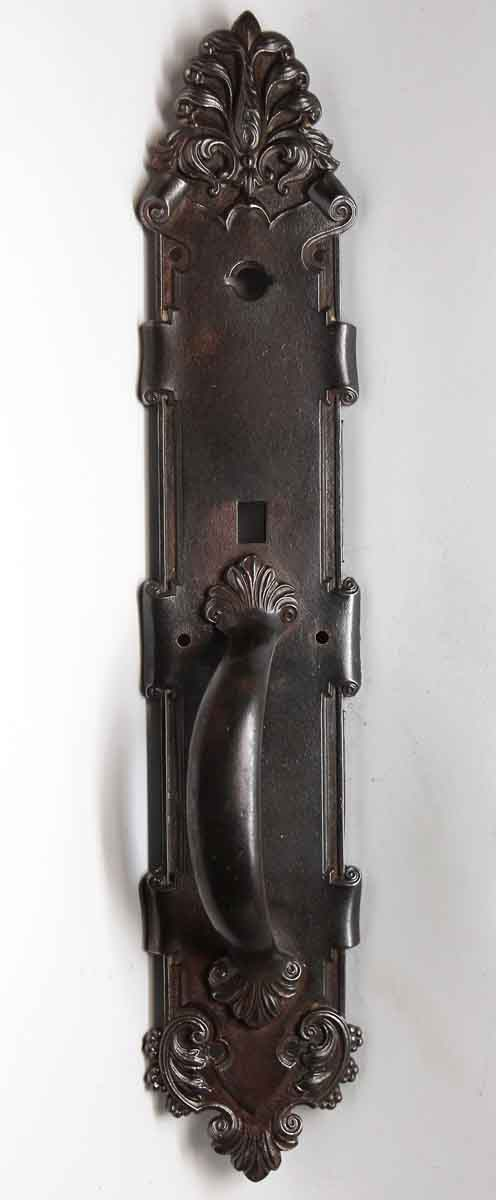 Door Pulls - Antique French Black Cast Iron Door Pull Handle