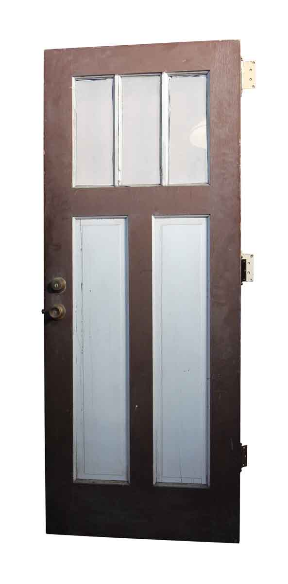 Entry Doors - Brown Door with Top Glass Panels