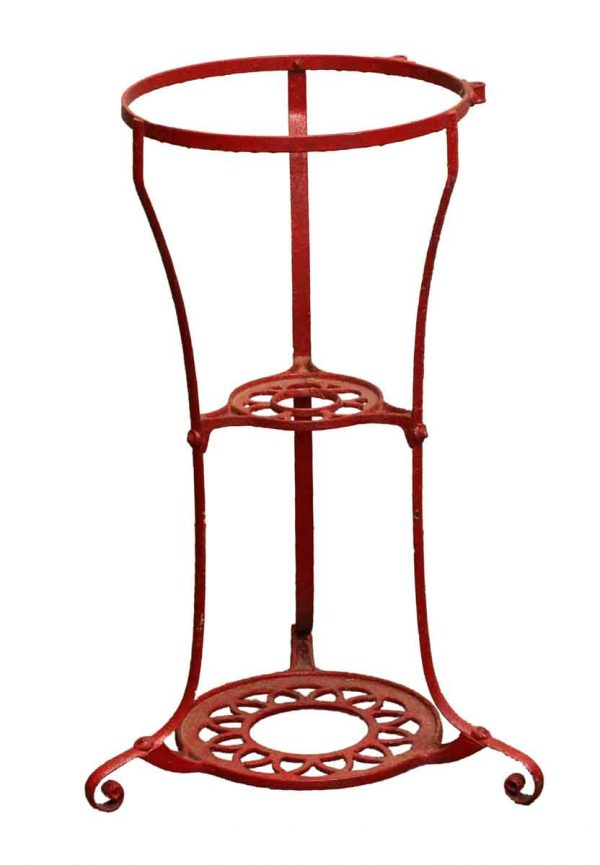 Garden Elements - Salvaged Red Cast Iron Plant Stand
