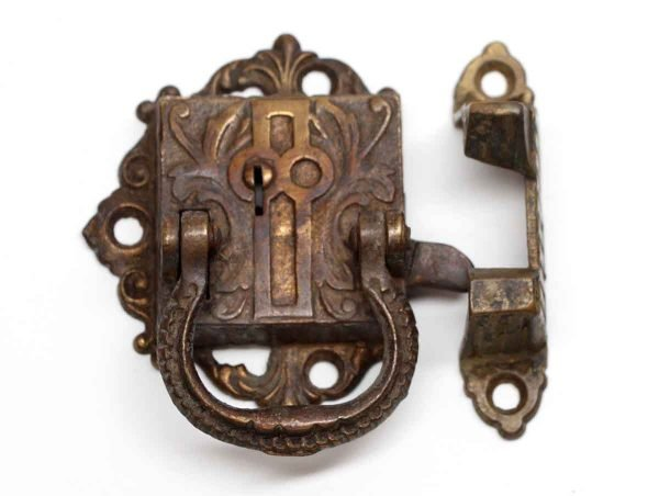 Ice Box Hardware - Antique Bronze Ice Box Latch with Victorian Details