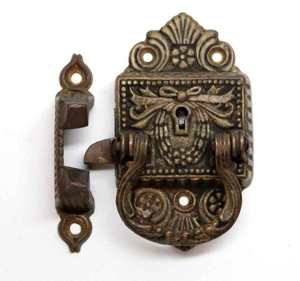 Ice Box Hardware - Antique Floral Victorian Bronze Ice Box Latch
