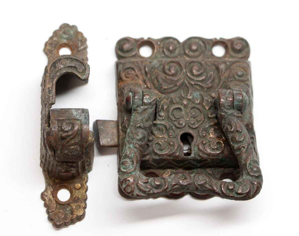 Ice Box Hardware - Antique Highly Ornate Bronze Ice Box Latch