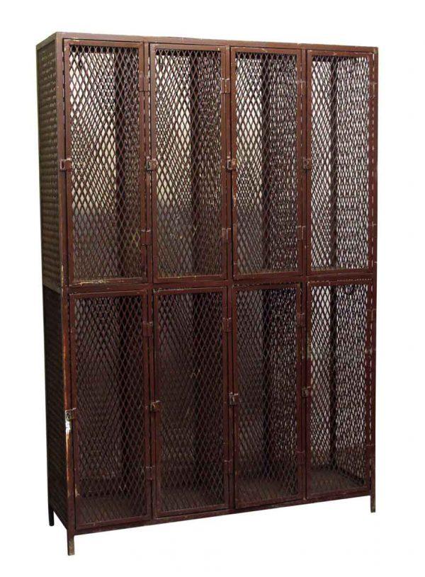 Industrial - Salvaged Eight Brown Metal Locker Unit