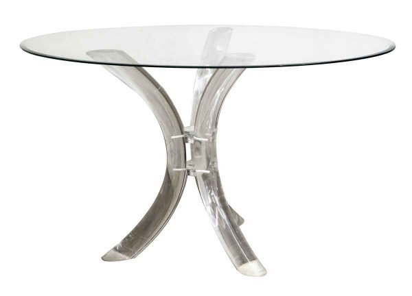 Kitchen & Dining - Mid Century Glass Top Table with Lucite Base