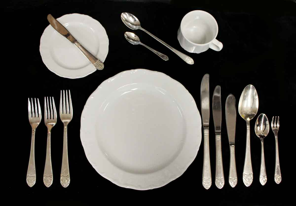 Salvaged Waldorf Formal 12 Piece Flatware Place Setting