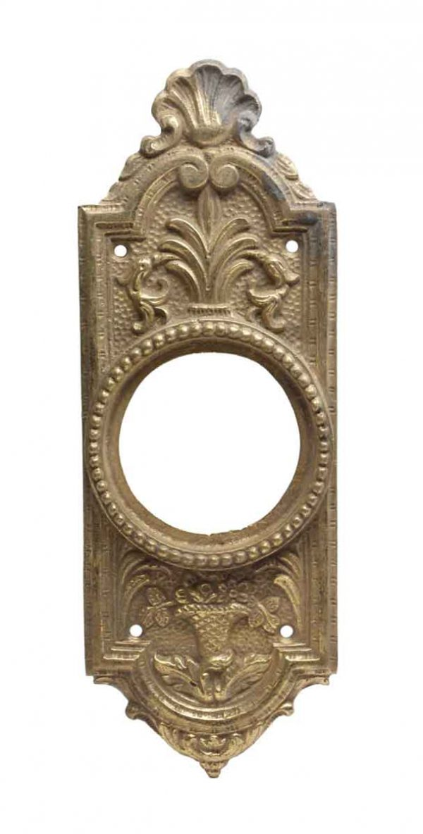 Knockers & Door Bells - Antique Cast Brass French Door Bell Plate