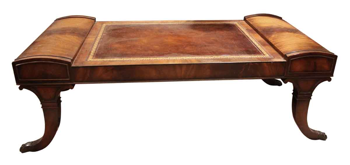 Exceptional Living Room   Antique Leather Top Claw Foot Coffee Table