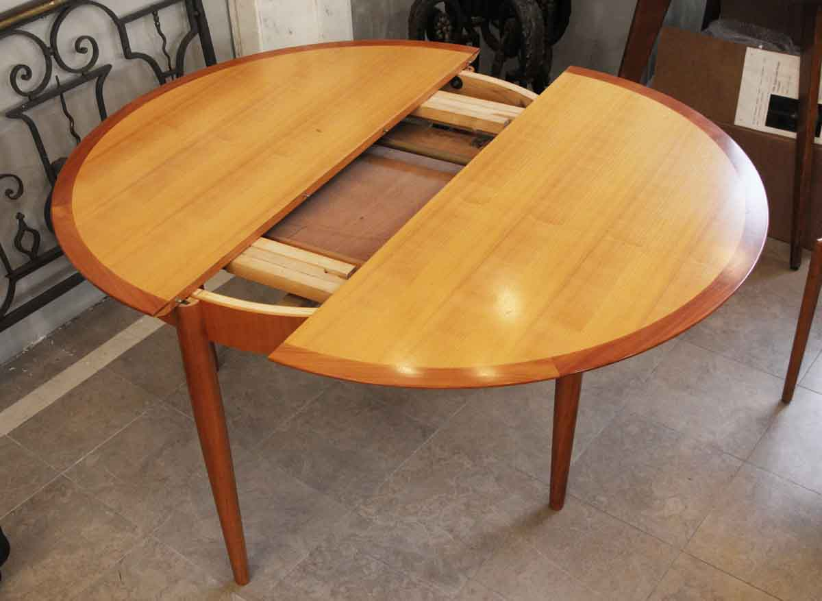 maple mid century modern round table with leaf and 5