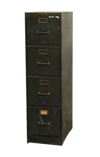 Reclaimed Four Drawer Metal Green Filing Cabinet