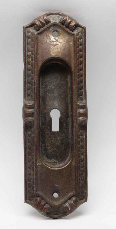 Pocket Door Hardware - Antique Bronze Art Deco Pocket Door Plate