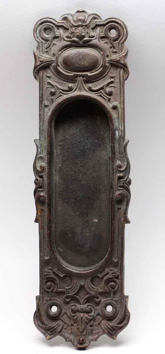 Pocket Door Hardware - Antique Cast Bronze Figural Pocket Plate