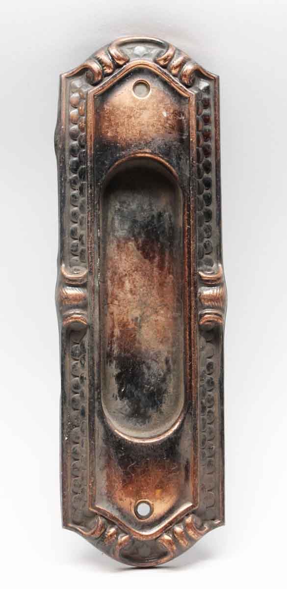 Pocket Door Hardware - Antique Copper Finish Art Deco Bronze Pocket Plate