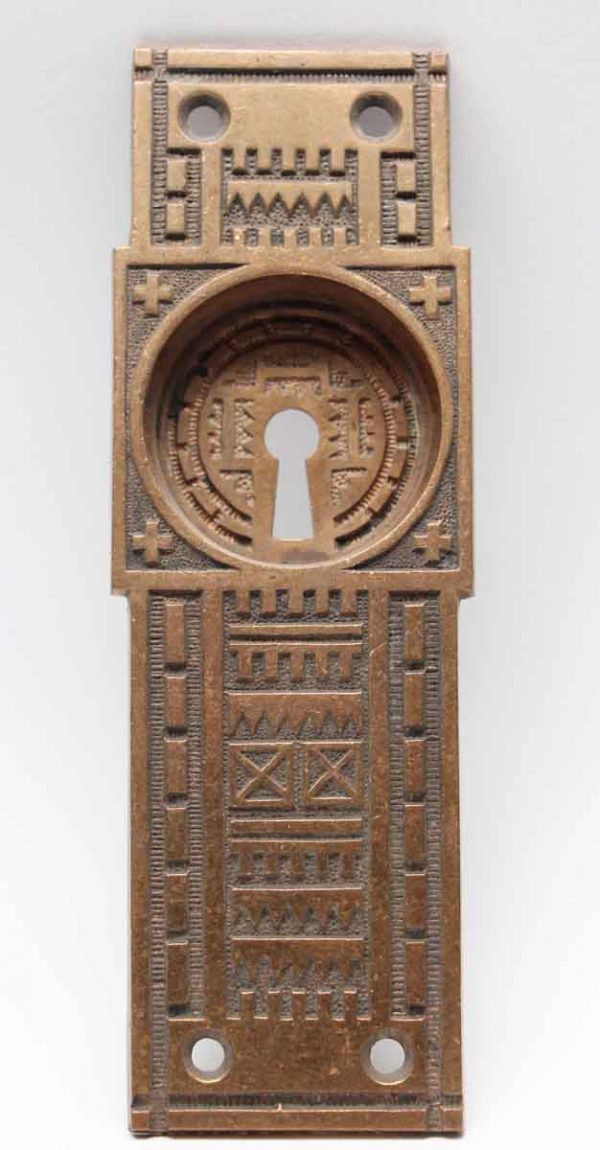 Pocket Door Hardware - Antique Cross Vernacular Bronze Pocket Door Plate