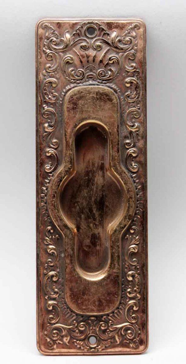 Pocket Door Hardware - Antique French Pressed Brass Pocket Door Plate