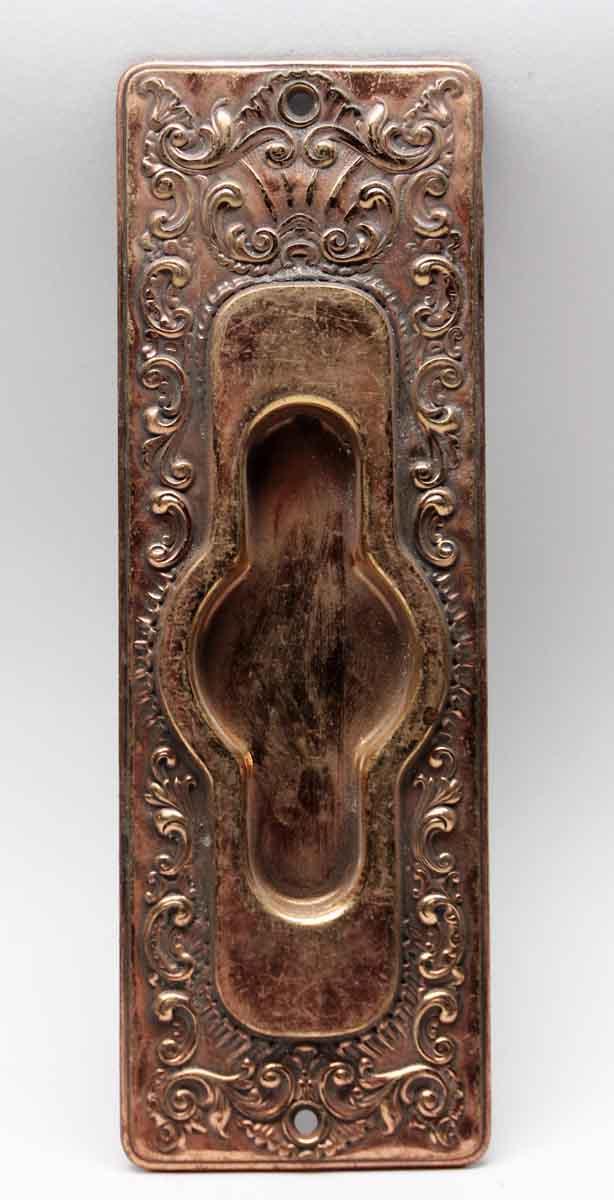 Pocket Door Hardware - Antique French Pressed Brass Pocket Door Plate - Antique French Pressed Brass Pocket Door Plate Olde Good Things
