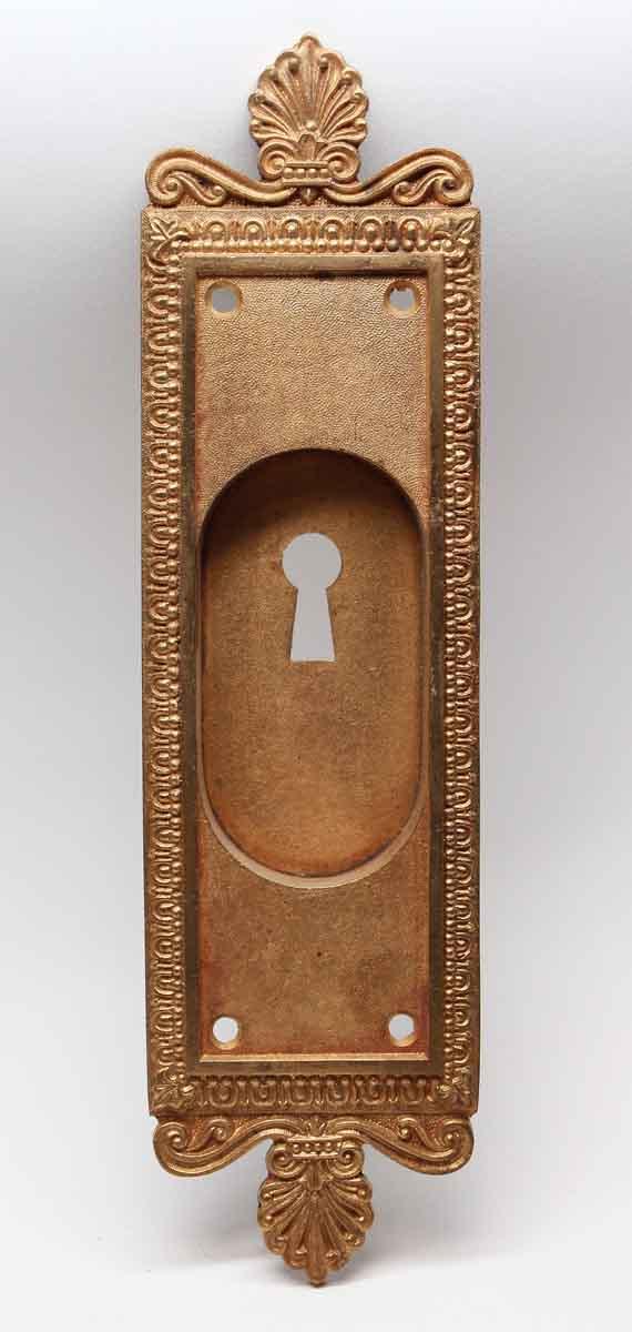 Pocket Door Hardware - Antique Neoclassical Brass Pocket Door Plate