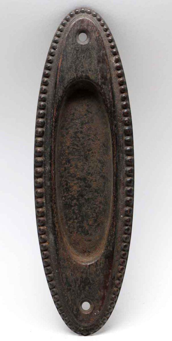 Pocket Door Hardware - Antique Oval Shaped Beaded Pocket Door Plate