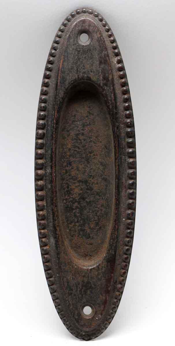 Pocket Door Hardware - Antique Oval Shaped Beaded Pocket Door Plate - Antique Oval Shaped Beaded Pocket Door Plate Olde Good Things