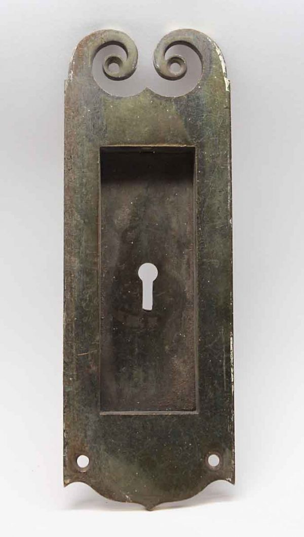 Pocket Door Hardware - Antique Swirl Brass Pocket Door Plate