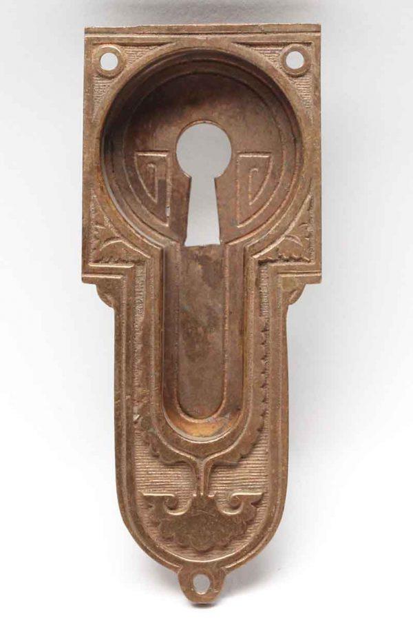 Pocket Door Hardware - Antique Vernacular Brass Pocket Plate