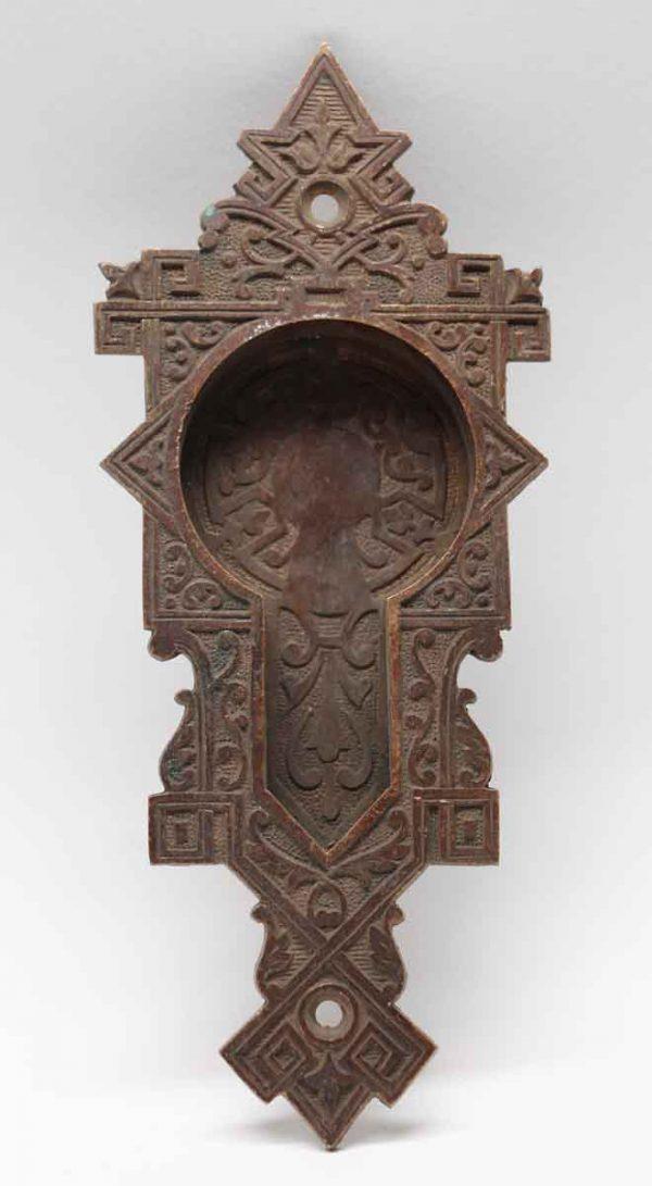 Pocket Door Hardware - Antique Vernacular Bronze Recessed Pocket Door Plate