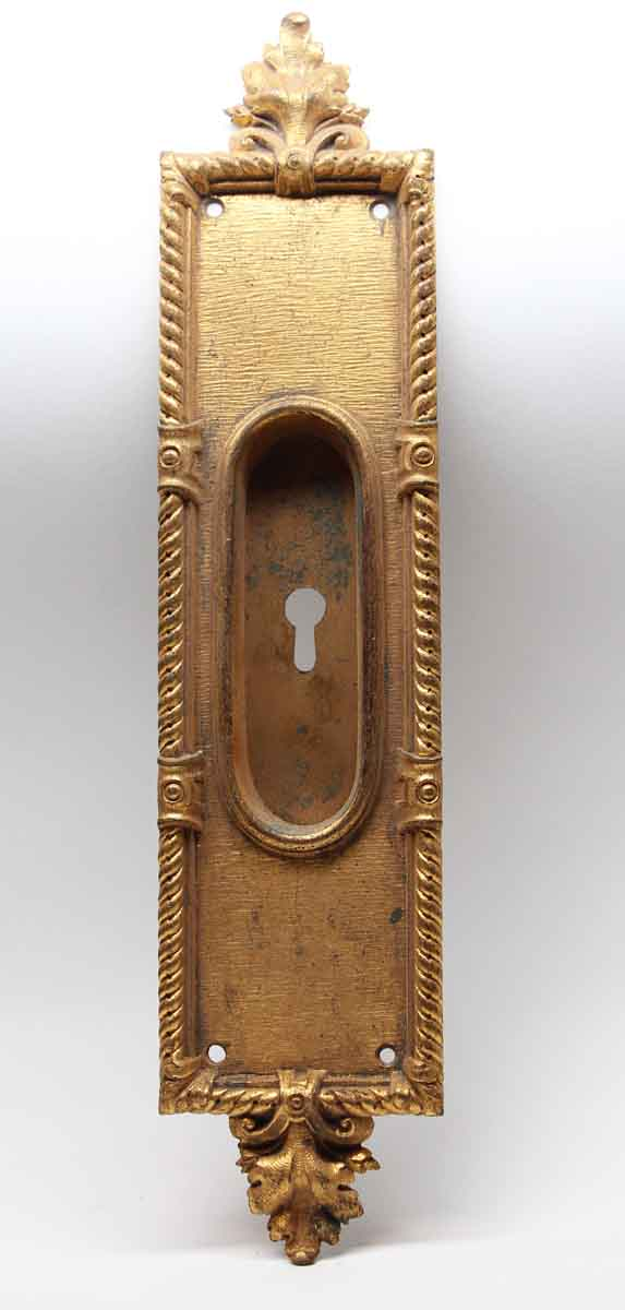 Pocket Door Hardware - Antique Victorian Gilded Brass Pocket Door Plate