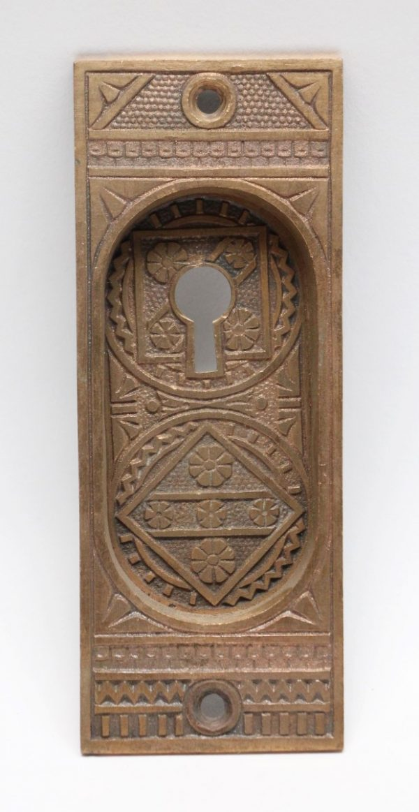 Pocket Door Hardware - Bronze Ornate Pocket Door Plate