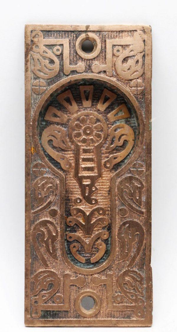 Pocket Door Hardware - Bronze Pocket Door Plate with Decorative Details