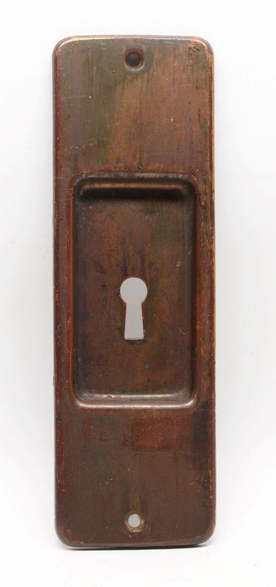 Pocket Door Hardware - Bronze Pocket Door Plate with Warm Patina