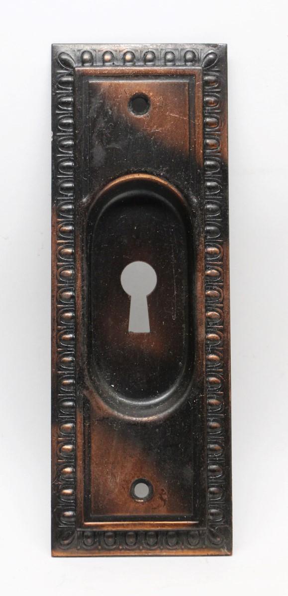 Pocket Door Hardware - Egg & Dart Steel Copper Plated Pocket Door Plate