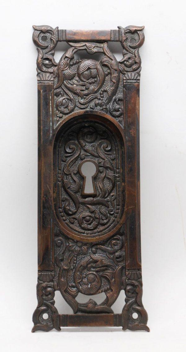 Pocket Door Hardware - Highly Decorative Bronze Pocket Door Plate