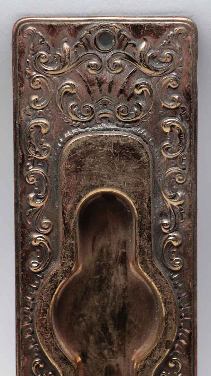 Antique French Pressed Brass Pocket Door Plate Olde Good