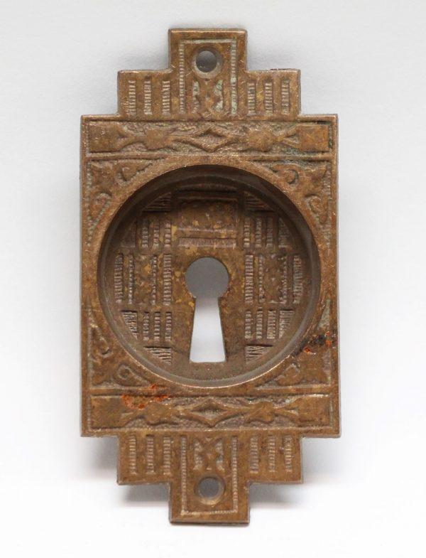 Pocket Door Hardware - Small Bronze Ornate Pocket Door Plate