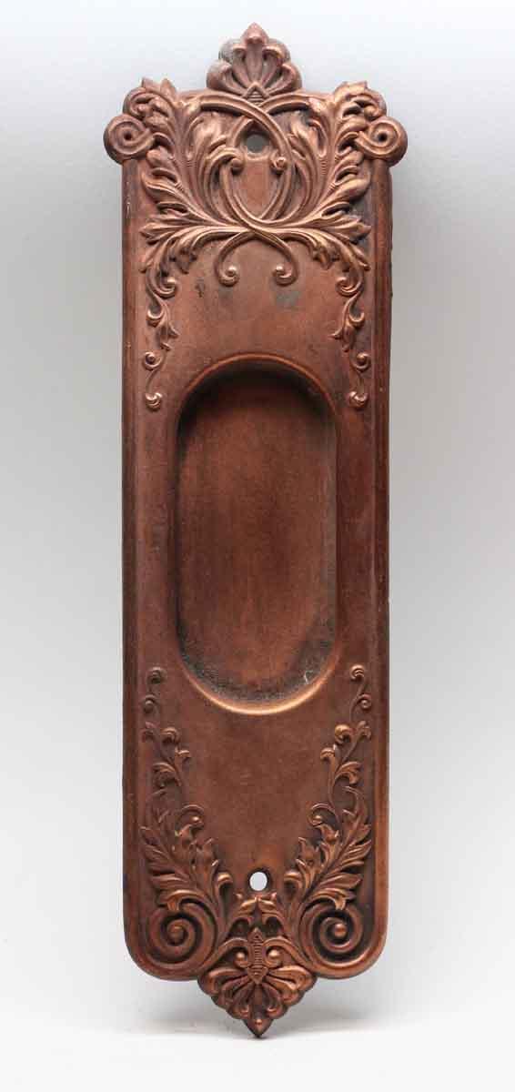 Pocket Door Hardware - Victorian Copper Over Brass Ornate Pocket Plate