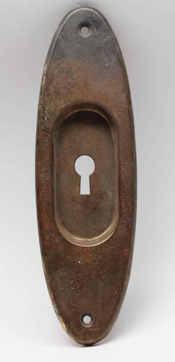 Pocket Door Hardware - Vintage Classic Oval Brass Pocket Door Plate