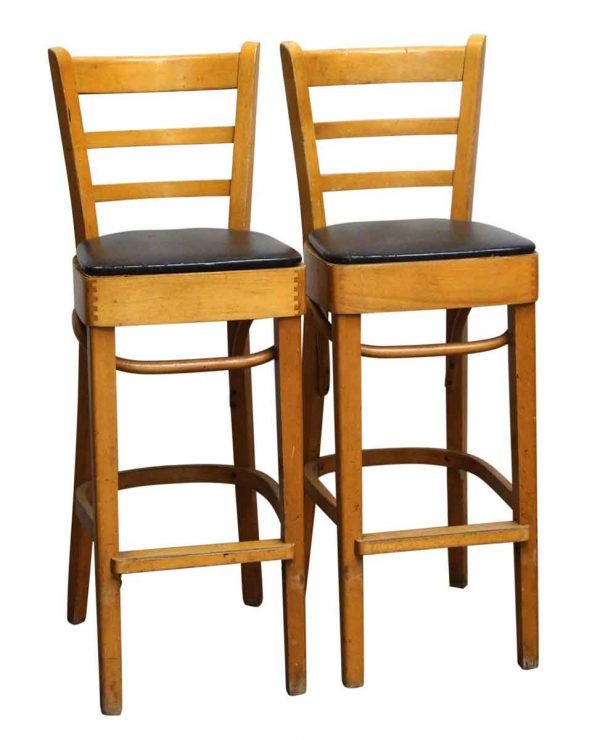Seating - Salvaged Wood Bar Stools with Black Seat