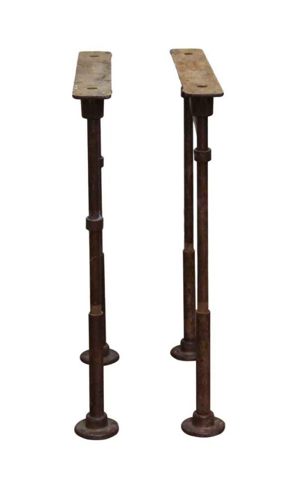 Table Bases - Pair of Vintage Industrial Pipe Cast Iron Table Legs