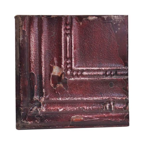 Tin Panels - Antique Dark Red Corner Antique Tin Panel