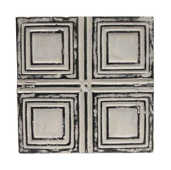 Tin Panels - Black & White Four Fold Square Antique Tin Panel