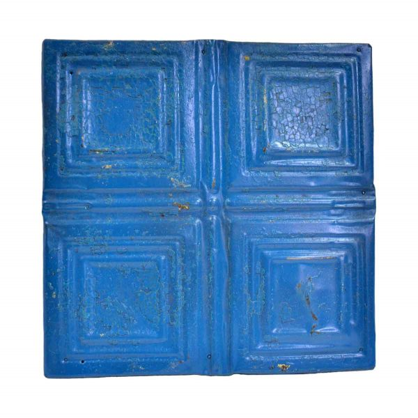 Tin Panels - Blue Squares Antique Tin Ceiling Panel