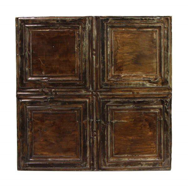 Tin Panels - Brown Recessed Squares Antique Tin Ceiling Panel