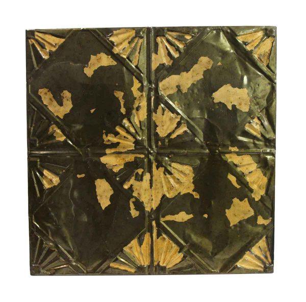 Tin Panels - Brown & Tan Art Deco Antique Tin Ceiling Panel