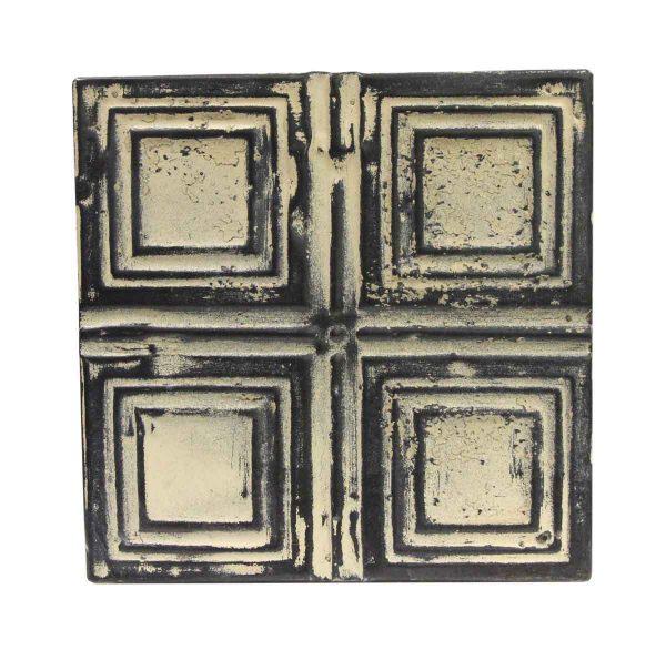 Tin Panels - Cream & Black Squares Antique Tin Ceiling Panel