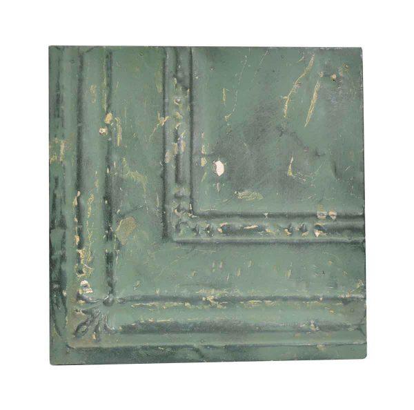 Tin Panels - Distressed Green Corner Antique Tin Ceiling Panel