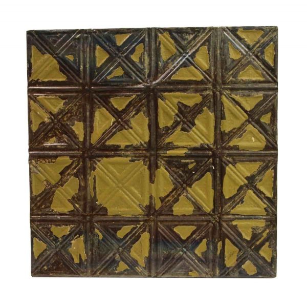 Tin Panels - Distressed Green X Pattern Tin Ceiling Panel