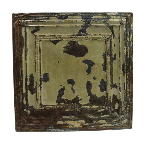 Tin Panels - Distressed Moss Green Square Antique Tin Ceiling Panel