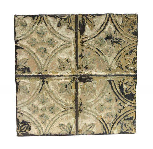 Tin Panels - Distressed Tan & Gray Diamond Tulip Antique Tin Panel