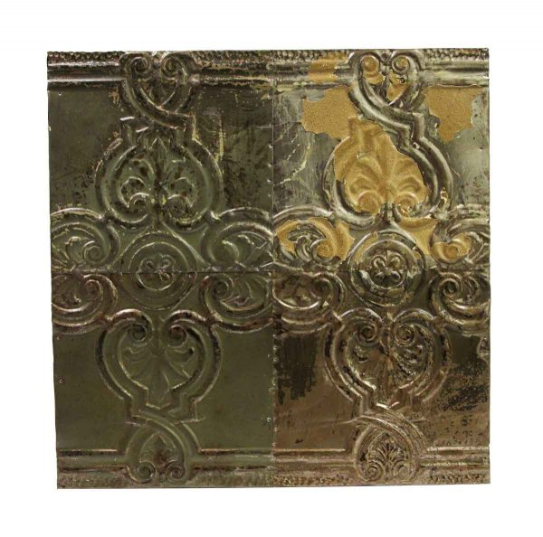 Tin Panels - Fleur de lis Metallic Finish Antique Tin Panel